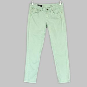 J Crew Toothpick Skinny Ankle Jeans 28 Light Green